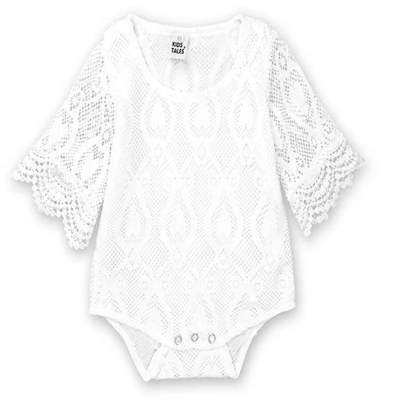 18042e1f7 Infant newborn Baby Clothes Girl white Lace Floral Romper Jumpsuit ...