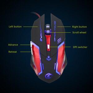 Image 4 - HXSJ 3200 DPI professionnel USB filaire rapide lumière LED avec 6 boutons souris de jeu pour ordinateur portable