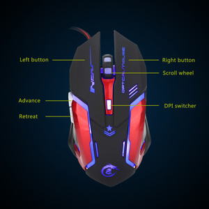 Image 4 - HXSJ 3200DPI Professional USB Wired Quick Moving LED Light With 6 Buttons Gaming Mouse For computer laptop