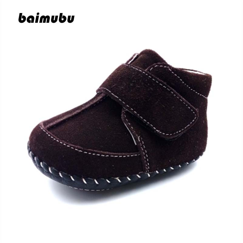 Baimubu Baby Boy Shoes Winter Fur Linning Genuine Leather Brand Toddlers First Walkers Non Slip Infant Shoes Enfant Kids Shoes
