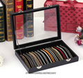 Black Leatherette Necklace Storage Tray Bracelet Display Box Jewelry Holder Bangle Case Organizer with Glass Cover Portable