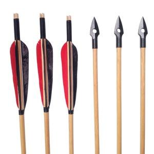 Image 5 - 6/12pcs חץ וקשת מסורתי Broadheads חיצי עץ חיצוני קשת חץ ציד ירי בפועל בעבודת יד עץ חץ