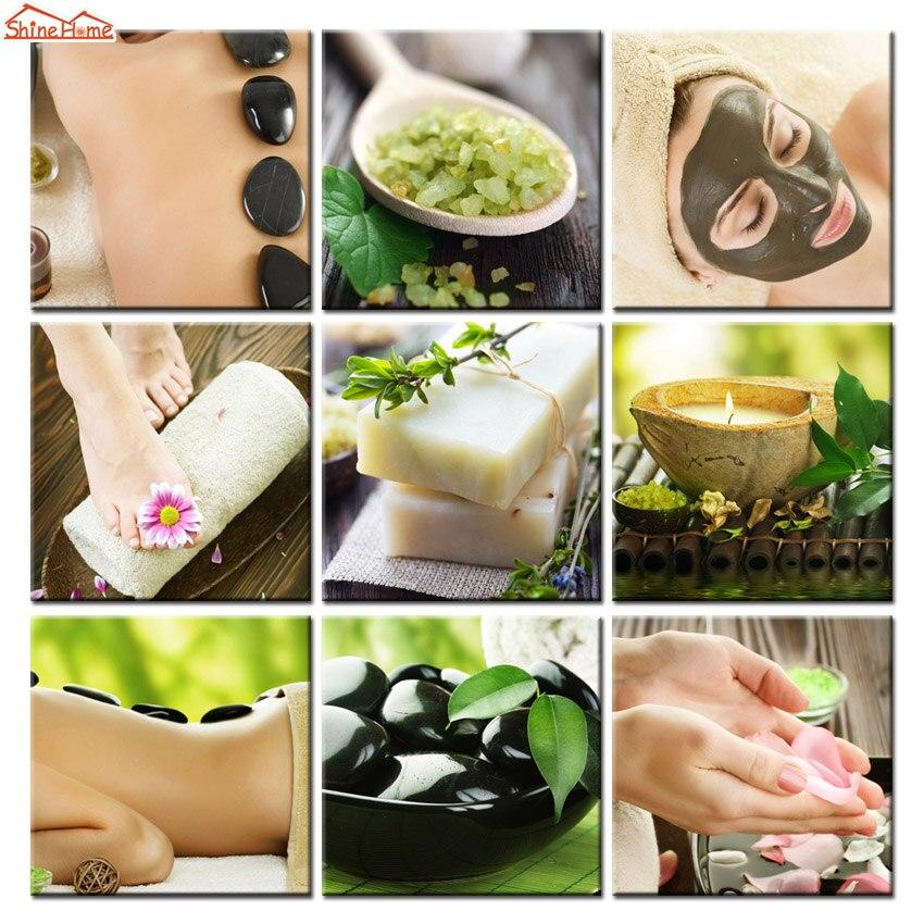 ShineHome-Wall Art Canvas Painting Prints Spa Body Nail Salon Massage Salt Zen Stone Towel Decorative Pictures Posters No Frame