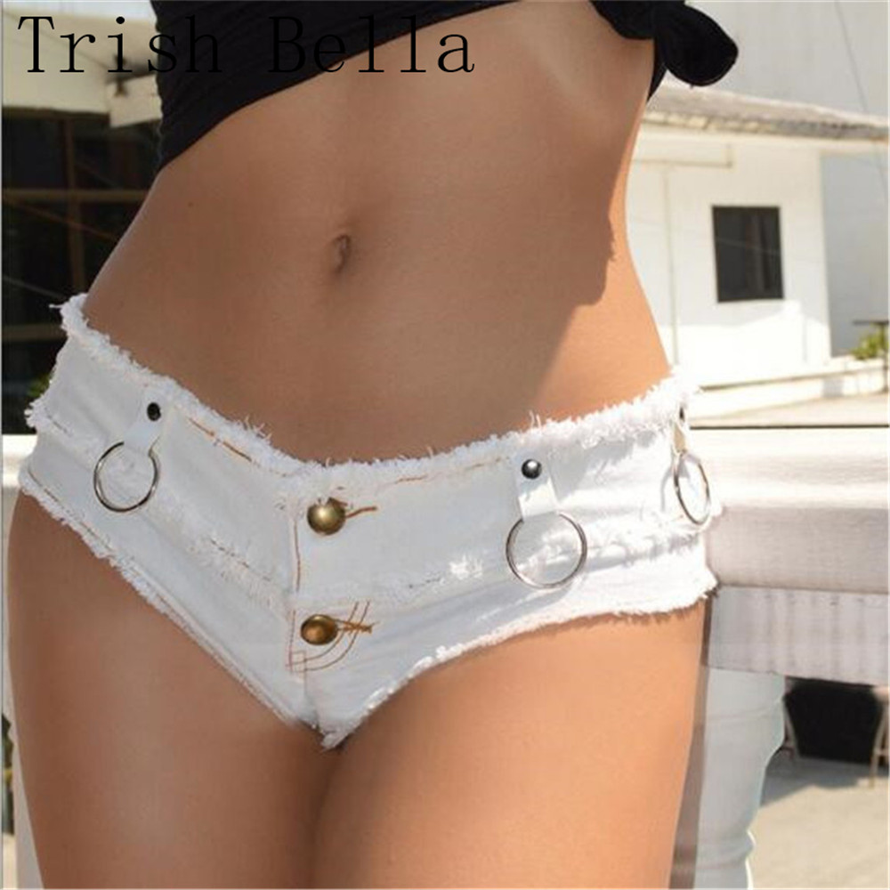 jeans woman 2017 new sexy Solid color Tight Flash Metal ring shorts Hot pants Nightclub ripped jeans for women jeans mujer denim ring denim jeans