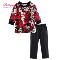 Pettigirl 2017 Kids Print Sets For Girls Flower Tops And Black Pants Fashion Children Costume Suits CS81211-377F