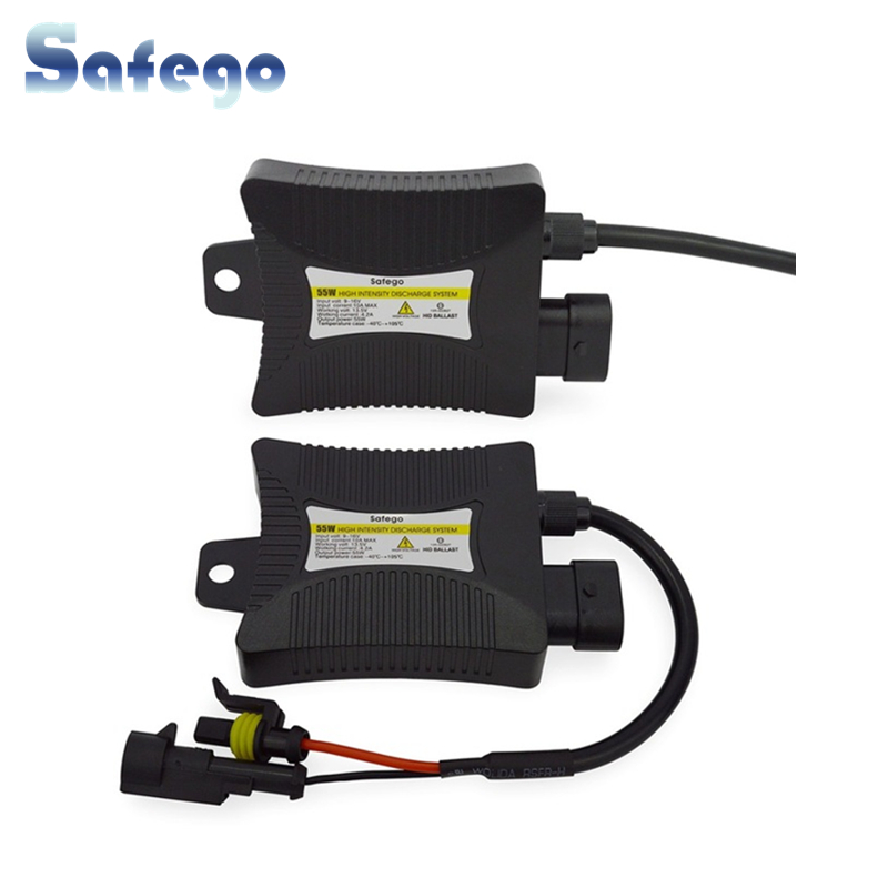 Safego 2pcs 12V hid xenon ballast 55W Digital slim Xenon hid balast 55w block ignition for HID kit xenon H7 H4 H1 H3 H11