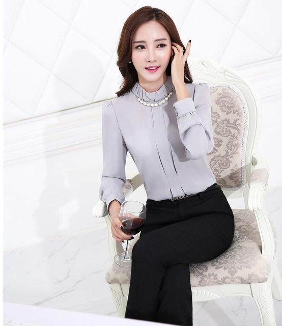 88fe6abd5d5 Formal Uniform Style Female Pantsuits Tops And Pants Professional Business Work  Suits Office Ladies Trousers Sets