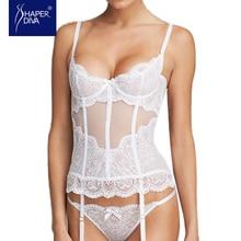 Shaper Diva Белый Overbust сексуальный корсет видеть сквозь сетки для похудения свадебное белье сексуальное Кружево до лента белье корсет Топы корректирующие