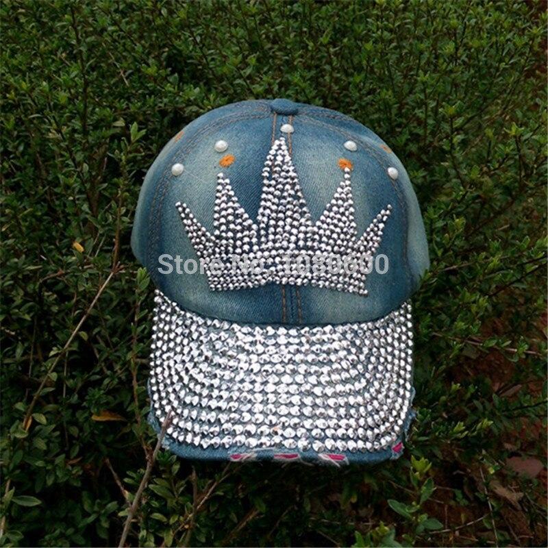 crown pattern Diamond Point print cowboy washed denim caps women jeans  baseball cap rhinestone Adults hats 4797276210df