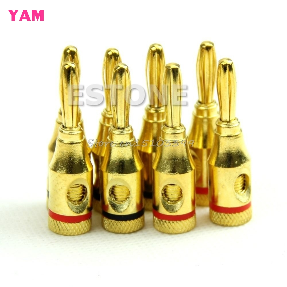 8 X Gold plated Musical Speaker Cable Wire Screw Banana Plug Connector 4mm #G205M# Best Quality audio speaker cable wire 4mm banana plug connector adapter black red 5 pairs