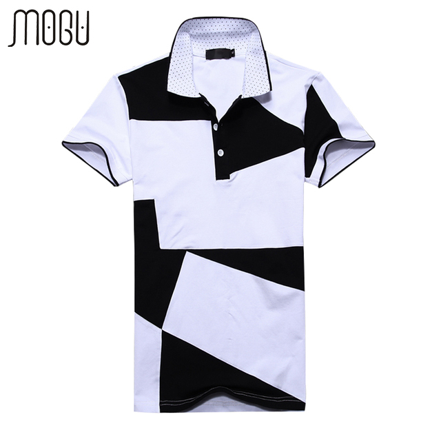 Mogu Short Sleeve Patch Work Polo Shirt Men 2017 Summer New Fashion