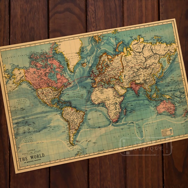 Ocean mountains world map classic vintage retro kraft decorative ocean mountains world map classic vintage retro kraft decorative poster maps wall canvas sticker home bar gumiabroncs Gallery