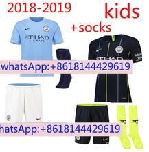 200db406a 18 19 kids Manchester City KUN AGUERO DE BRUYNE G JESUS man soccer jerseys  2018 2019 WALKER KOMPANY STERLING jersey