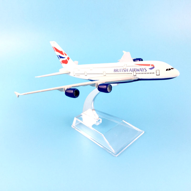 BRITISH AIRLINES 16CM A380 BRITISH AIRWAYS METAL ALLOY MODEL PLANE AIRCRAFT MODEL TOY AIRPLANE BIRTHDAY GIFT 36cm resin a380 great british airplane model england airlines airways model plane aircraft stand craft british a380 airbus model