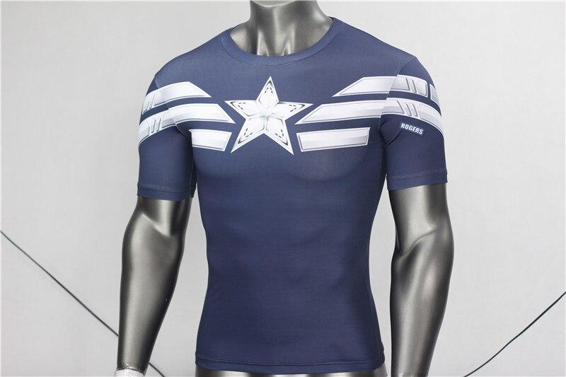 Kaptan Amerika 3D Kas Gömlek Erkekler Slim Fit T Shirt Vücut - Erkek Giyim - Fotoğraf 5