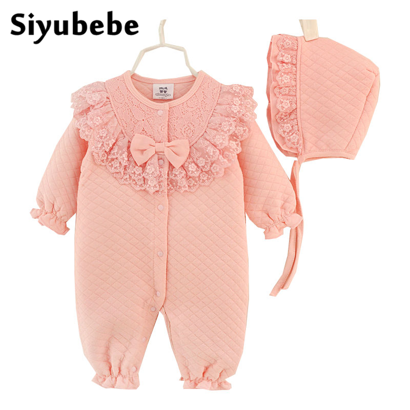 Newborn Princess Style Baby Girl Clothes Kids Birthday Dress Winter Girls Lace Rompers+Hats Baby Clothing Sets Infant Jumpsuit 2015 newborn princess style baby girl clothes kids birthday dress girls lace rompers hats baby clothing sets infant jumpsuit