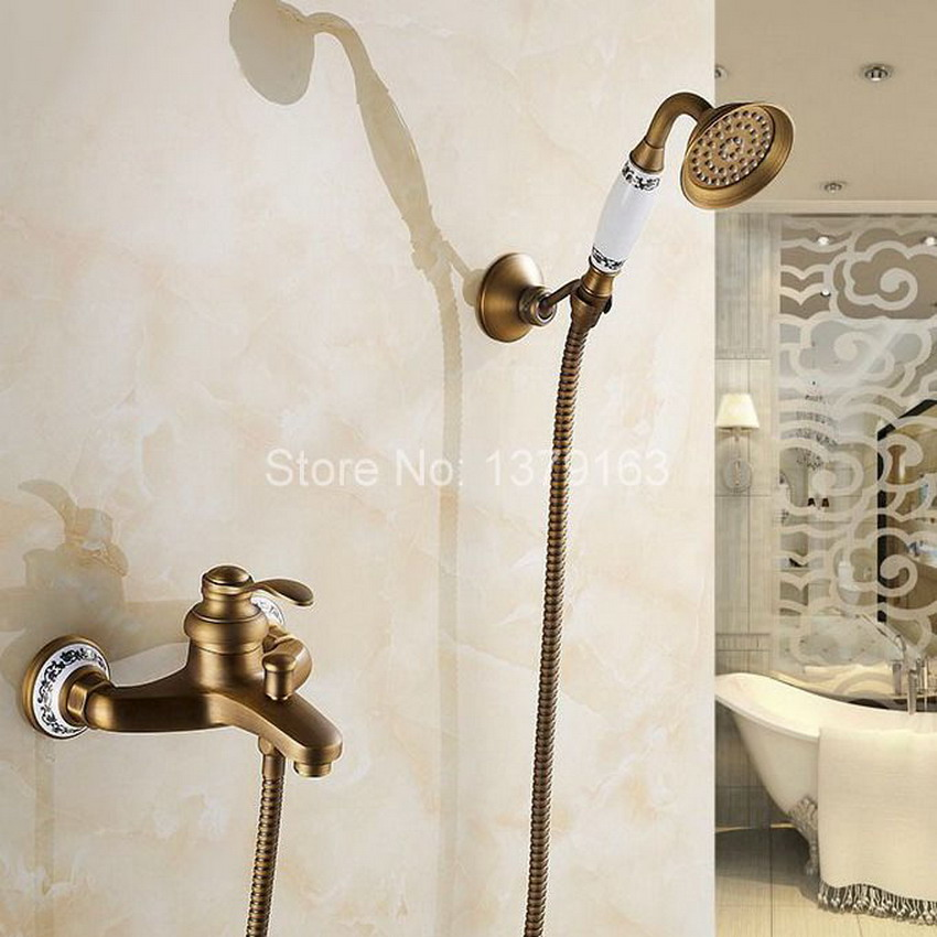 Antique Brass Wall Mounted Bathroom Single Handle Bathtub Faucet Tap Hand Held Shower set With Wall bracket &1.5m Hose atf304 antique bathroom single handle wall mounted bathtub shower set mixer set faucet tap bathroom shower free shipping hj 6053
