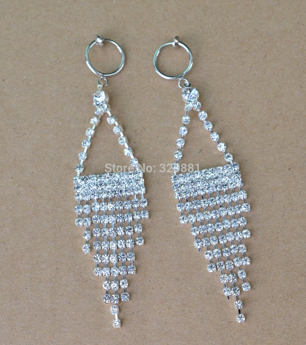 35'' Long Clip On Chandelier Earrings Glass Rhinestone For Party Wedding  Bridal Jewelry Without