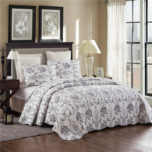 CHAUSUB Quality Quilt Set 3PCS Washed Cotton Quilts Plain Printing ... : quality quilt - Adamdwight.com