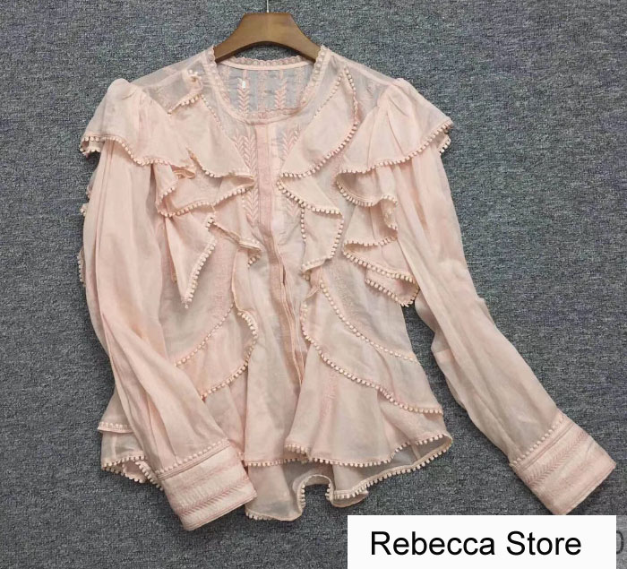 WISHBOP Sweet Pink ALEA TOP Embroidered cotton Shirt Blouse Long sleeves Buttoned cuffs Round neck Ruffles