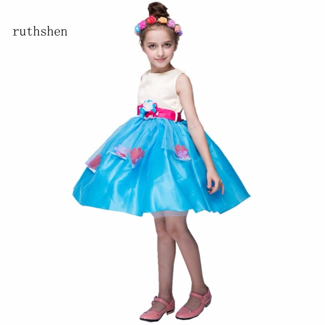 ruthshen New Flowers Girl Dresses Blue Pink Real Photo Pageant Gowns ...