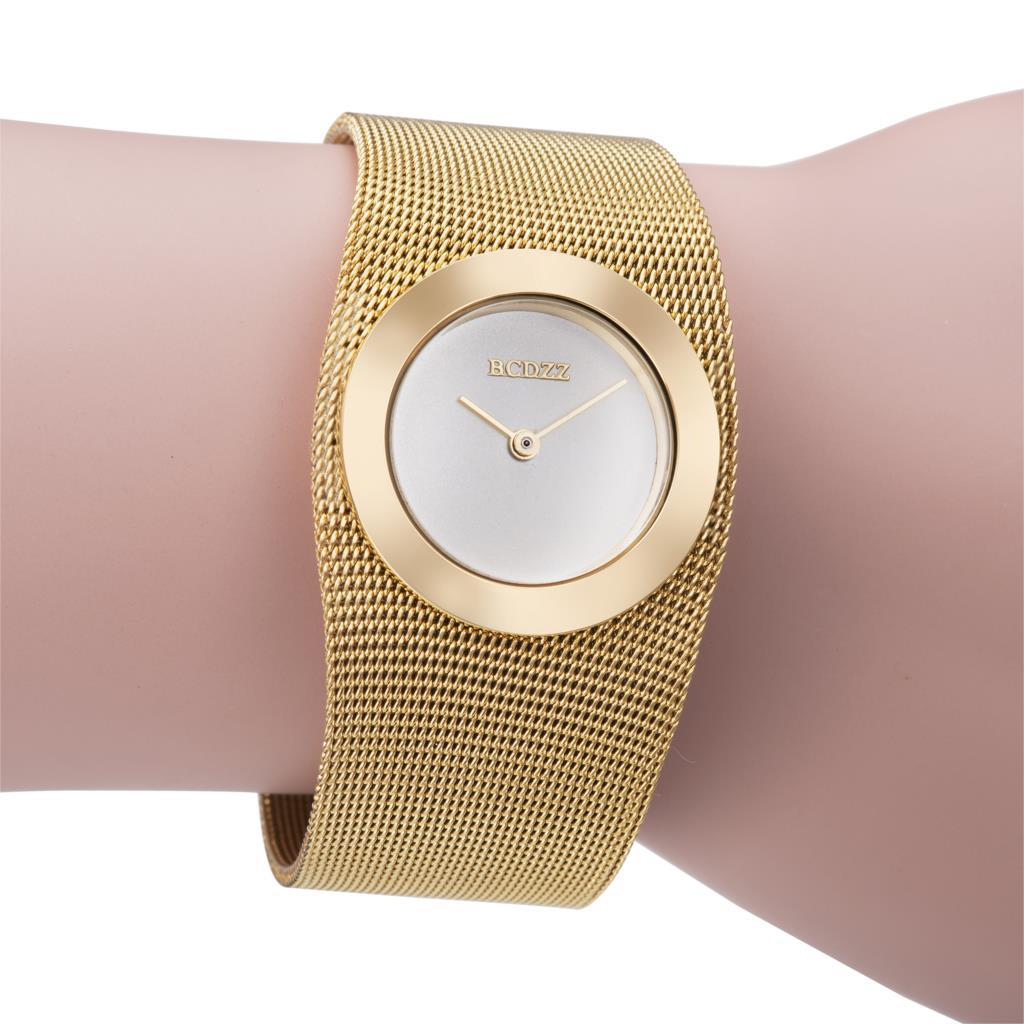 New Fashion Brand Women Gold Steel Bracelet Quartz Luxury Female ...