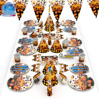 77 pcs New 2019 Halloween Party Decoration Suit Napkin Plate Cup Blowing Dragon Mask Spoon Knife Horn Set For Festival