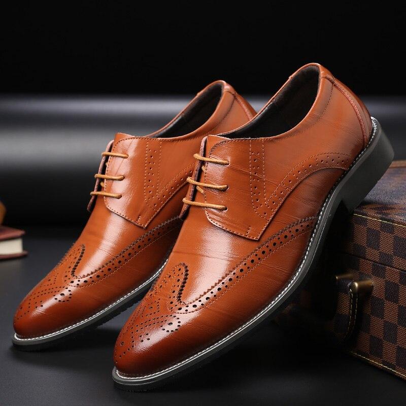 Männer Oxford Echtem Leder Kleid Schuhe Brogue Lace Up Wohnungen Männlichen Casual Schuhe Schwarz Braun Größe 38-47