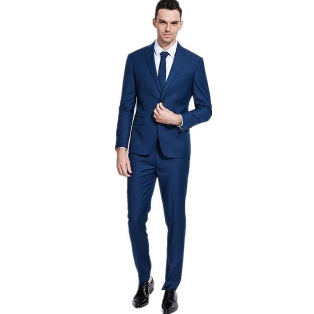 new Men\'s suit Custom of the groom dress royal blue suit best man ...