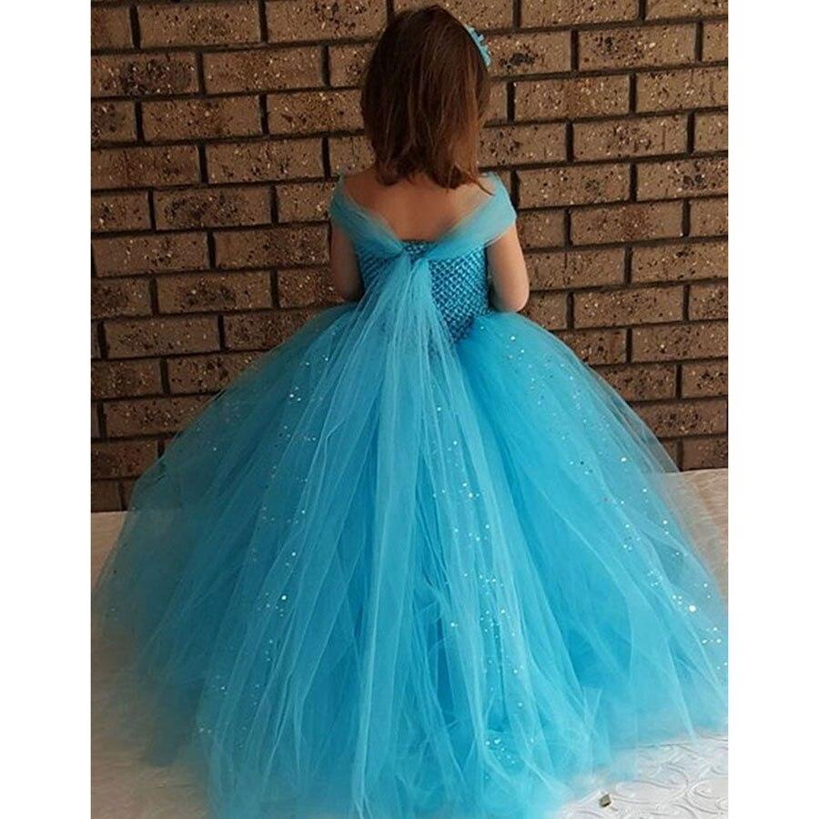 Girls Blue Glitter Princess Tutu Dress Elsa Inspired Kids Rhinestone Wedding TUTU Ball Gown Children Prom Birthday Party Dress 2