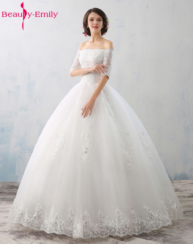 Beauty-Emily Red/White Ball Gown Wedding Dresses 2017 Boat Neck Half Sleeve Appliques Lace Up Wedding Gowns Bridal Party Dresses