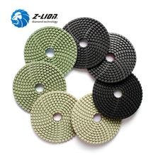 Almohadillas de pulido de diamante Z LION de 7 piezas de 4 pulgadas para uso húmedo en piedra Artificial de cuarzo y granito negro, discos de lijado de diamante