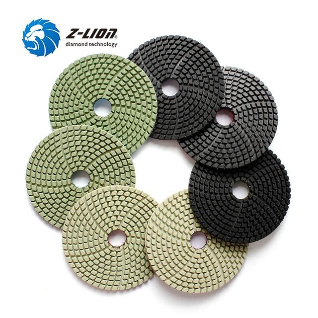 "Z LION 7 Pieces 4"" Diamond Polishing Pads Wet Use For Black Granite Quartz Artificial Stone Diamond Sanding Disc Grinding Wheels"