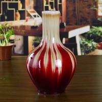 Ceramics quality red famb glaze large vase chinese style classical decoration