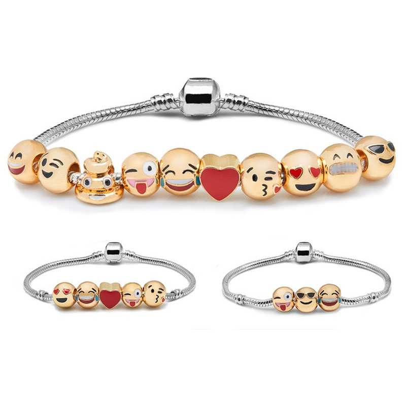 New Arrival Christmas Gifts Gold Emoji Expression Beads Fitss