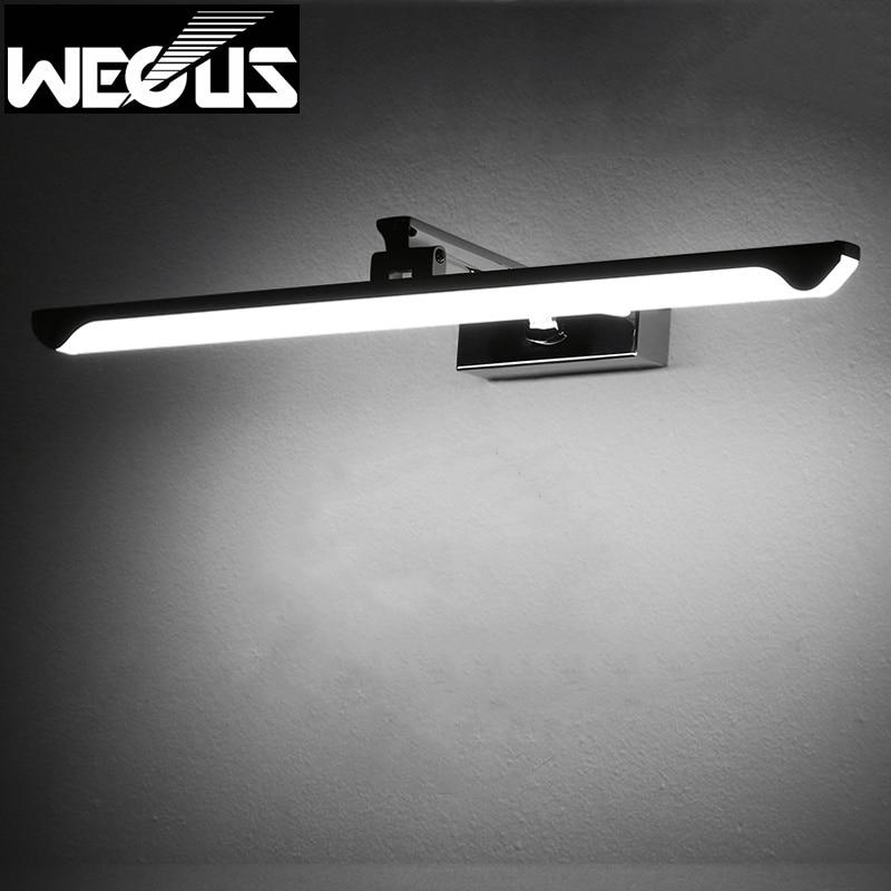 ФОТО Novel rotatable mirror light stainless steel+acrylic bathroom wall lamp adjustable reading picture lighting