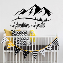 Wall Art Sticker Mountain Decal Vinyl Sticker Removeable Poster Adventure Awaits Mural Kids Baby Decor Beauty Ornament LY473 цена