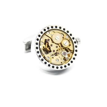 Promotion Non Functional Gold Watch Movement Cufflinks for Mens Lepton Brand cufflinks Steampunk Gear Immovable Watch