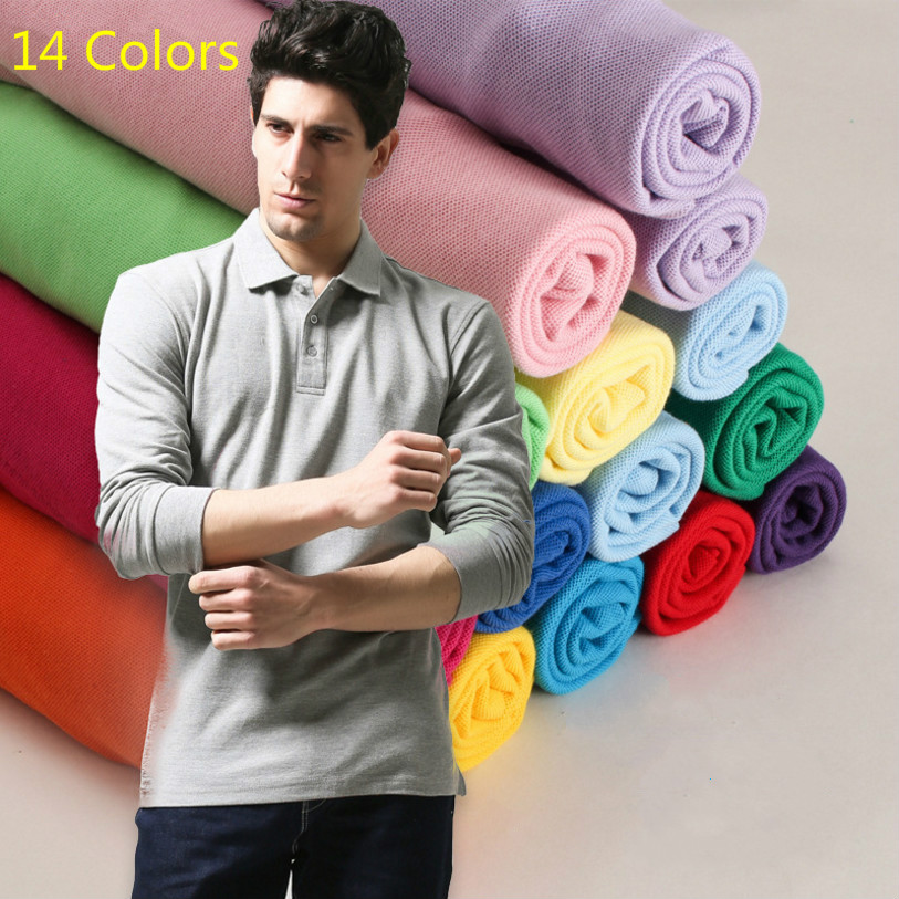 Pure Color XS-3XL Brand New Men's   Polo   Shirt High Quality Men Cotton Long Sleeve shirt Brands jerseys Autumn Unisex   polo   Shirts