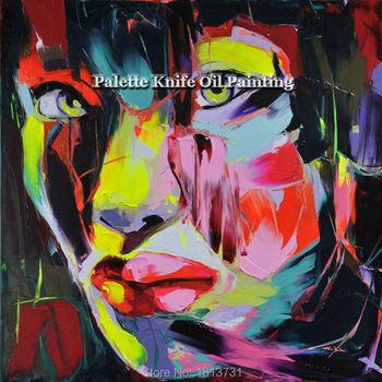 Hand painted Francoise Nielly Palette knife portrait Face Oil painting Character figure canva wall Art picture11-36