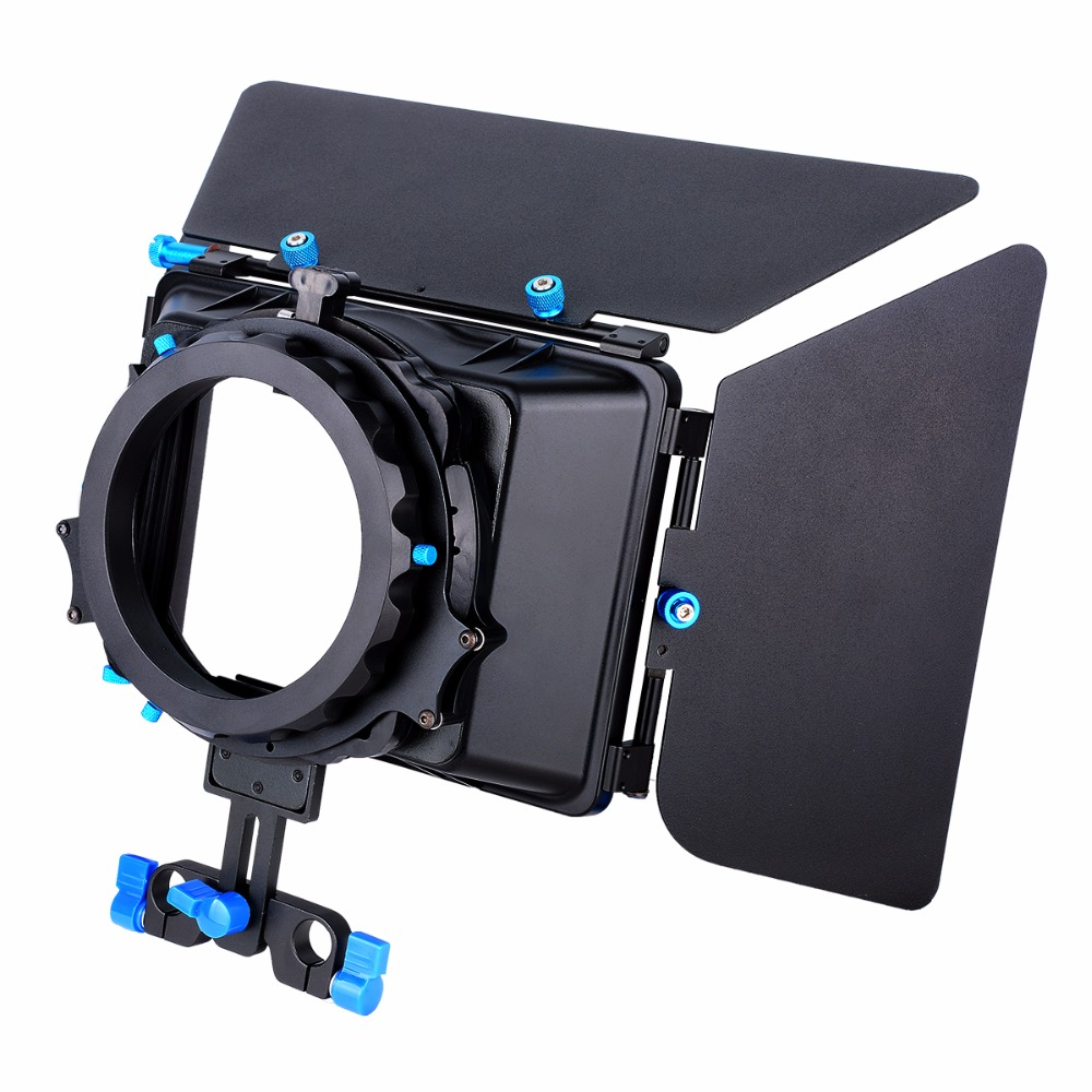YELANGU Aluminum Alloy Swing-away Design Matte Box with Filter Tray,Fit 15mm Rail Rod Rig,for DSLR Camera,Camcorder Video yelangu aluminum alloy camera video cage kit film system with video cage top handle grip matte box follow focus for dslr