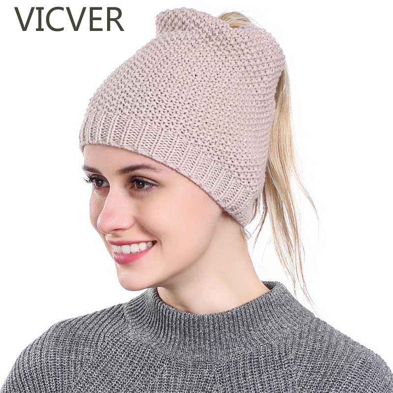 Ponytail Beanie Winter Hats For Women Soft Knit Messy Bun Cap Crochet Woolen Hat Fashion Skullies Beanies Stretch Hats Warm Caps