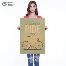 Vintage clásico quiero montar mi bicicleta afiche de bicicleta Retro de papel Kraft Bar Café decoración cuadro adhesivo para pared
