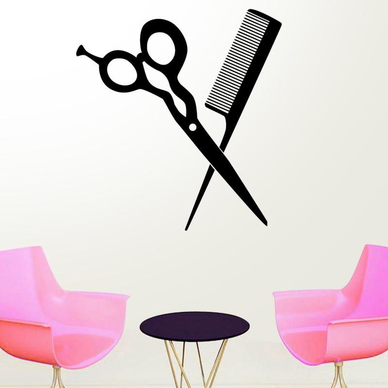 € 2.98 45% de réduction|Ciseaux Salon de coiffure autocollant coiffeur  décalcomanie Salon de coiffure affiches vinyle stickers muraux 25 couleur  ...