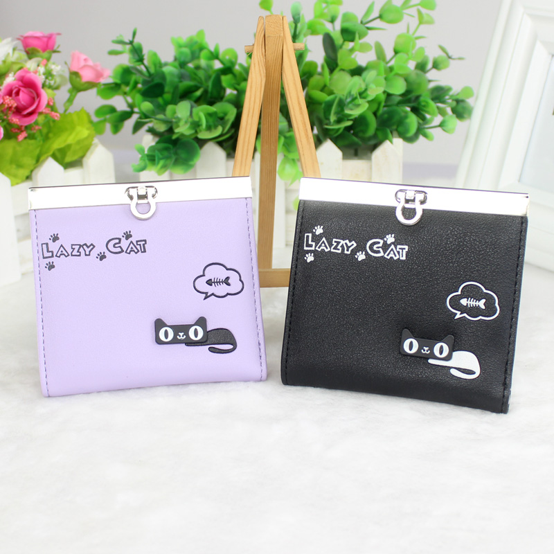 Women Wallets Cute Cat Lady Purses Card Holder Business Credit Bank Card ID Holder PU Leather Hasp Clutch Wallet Card Case Purse 2017 new top brand pu thin business id credit card holder wallets pocket case bank credit card package case card box porte carte