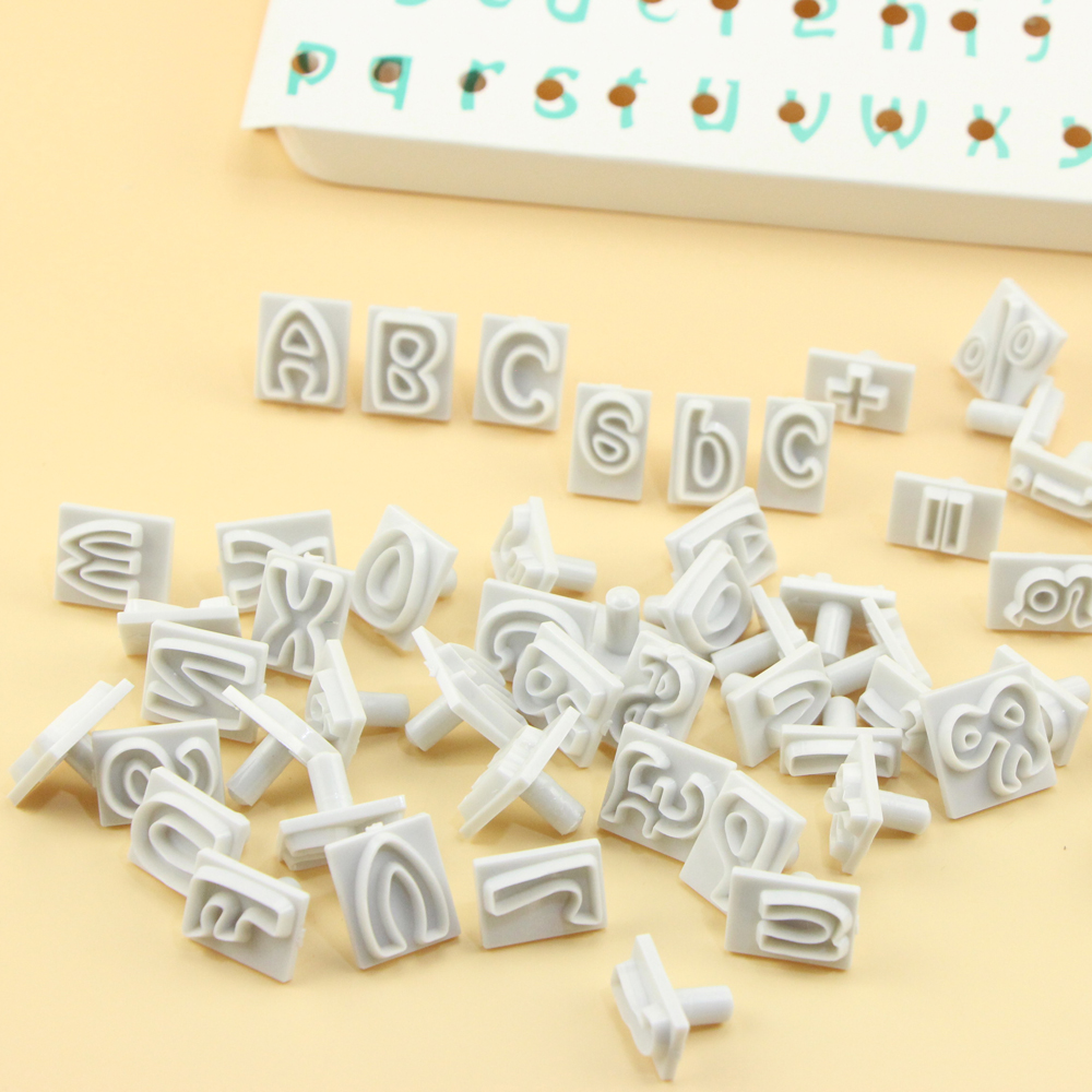 Plastic Alphabet Fondant Cutter Mold 64PCS/SET Characters-Upper&Lower Case Alphabet Letters Cookie Cutters Wedding Decoration