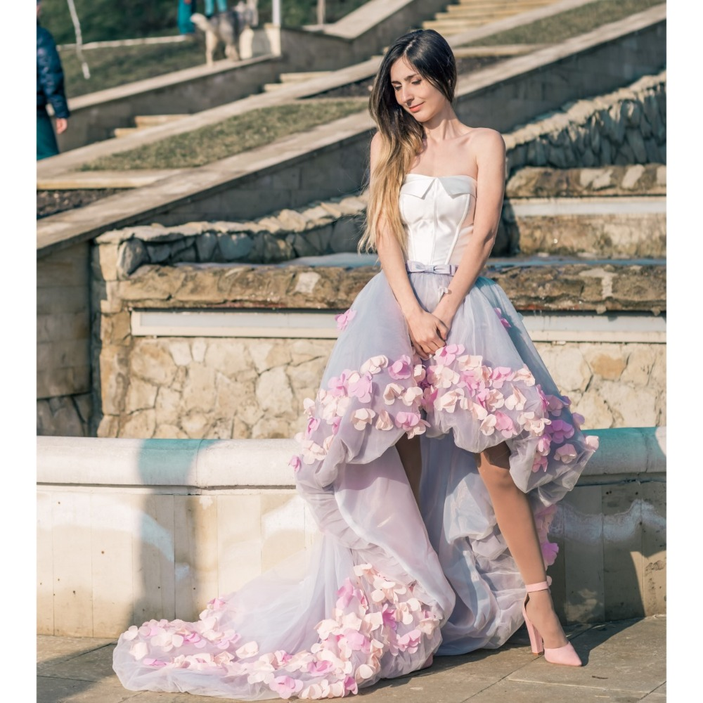 2019 Flowers Prom Dresses Short Front Long Back Evening Gown Gray Organza Fashion Party Formal Gown