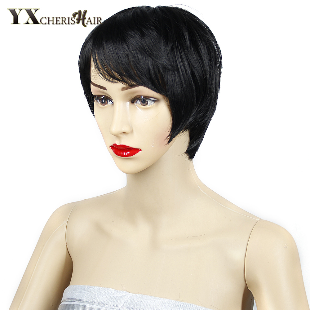 YXCHERISHAIR Kvinnors Svart Korta Pruikar För Kvinnor Svart Hår - Syntetiskt hår