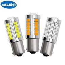 Aslent 2pcs 1156 BA15S P21W 1157 BAY15D P21/5W 5730 33SMD LED Car Bulb Brake Lights Reverse Lamp Daytime red white yellow 12v