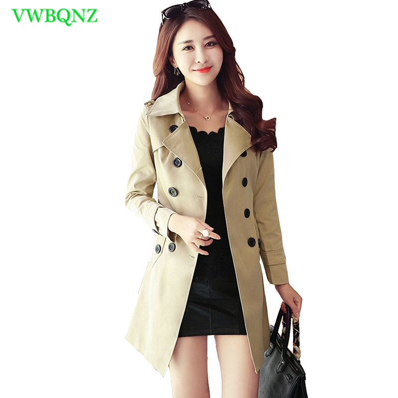 Plus size Korean Windbreaker coat Women New Spring Wild Slim Long   Trench   Coat Women's Double-breasted Top Coats XS 6XL A162